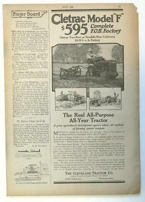 8x12 Original 1918 Cletrac Model F Ad THE REAL ALL-PURPOSE ALL YEAR TRACTOR