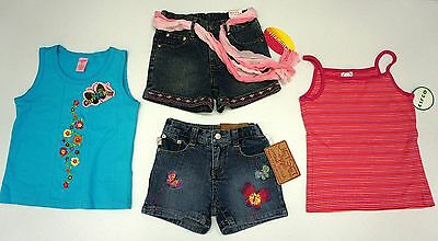 NWT LOT of 4 Copper Key VitaminZ JetSet Circo Girls 6 6X Denim Skirt Shorts Tops