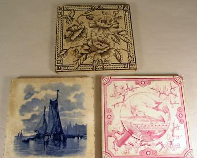Antique Mintons China Works Stoke On Trent Tile & 2 Unmarked Tiles Included