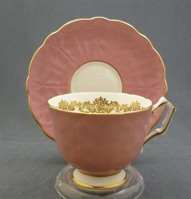 Aynsley England Bone China Tea Cup & Saucer Duo PINK GROUND Fluted Gold