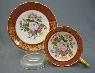 Wide Stafford English China Hand Painted Roses Royal Red & Gold Tea Cup & Saucer