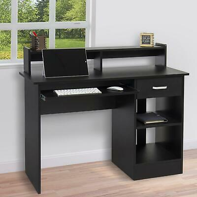 Black Computer Desk Home Office Workstation Laptop Table Drawer & Keyboard Tray