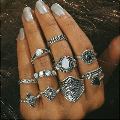 10pcs Fashion Bohemian Punk Gothic Vintage Gold Silver Women Finger Rings Set