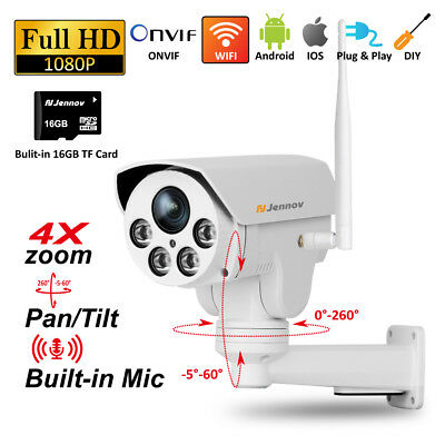 Wireless 4X ZOOM Outdoor CCTV HD 1080P WIFI IP Camera Home Security IR 32GB Card