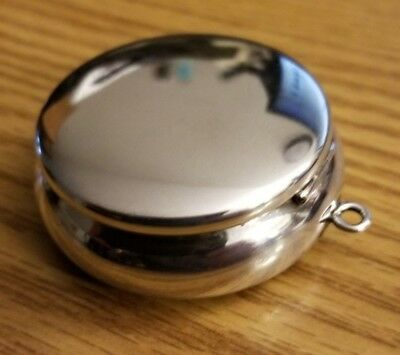 Sterling Silver 925 Round Pot Snuff Pill Box 22.5g Pendant Watch Pocket FOB