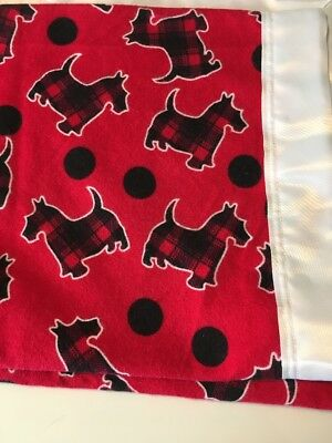 Baby Blanket Scottie Dogs New XL Flannel Receiving Swaddling Security Satin Trim