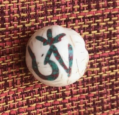 Large Drilled Shell Bead Inlaid Coral Turquoise Copper Tibetan Om Symbol