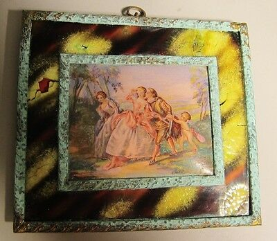 Fine 19th C. Miniature FRENCH ENAMEL on Copper Painting  c. 1850  Antique