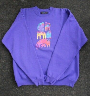 Laurel Burch  Purple Fantastic Felines L (42-44) sweatshirt Cats