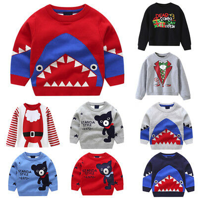 Toddler Infant Baby Kids Boys Girls Cartoon Knitted Tops Sweater Outfit Pullover
