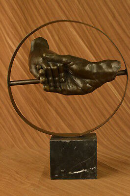 S.dali Solid Bronze Sculpture. Abstract Art Deco Marble Base Figurine Hot Cast