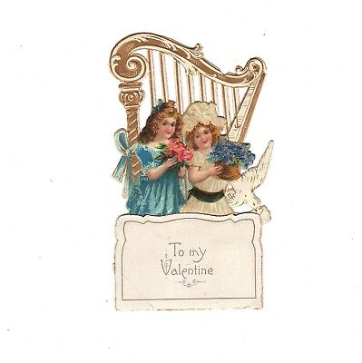 VALENTINE DAY Card Fold Out Pop Up Die Cut Harp Girl Victorian Germany Vintage
