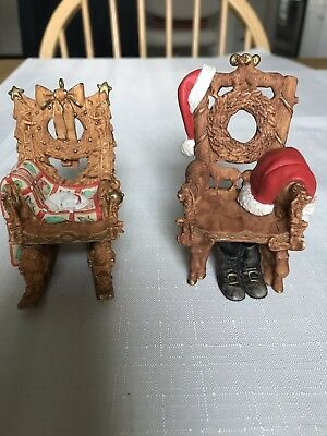 HALLMARK 2001 Christmas Ornament Mr.& MRS CLAUS Rocking Chair Carved Wood Look