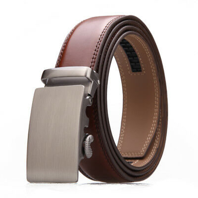 Men's Brown Leather Ratchet Belt Elegant Automatic Buckle Waist Strap Jeans Gift