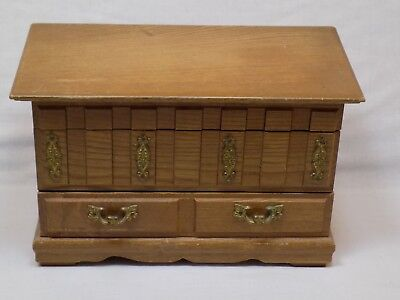 Vintage Wooden Jewelry Box Drawers Retro Old Blue Lined Small Keepsake Trinkets