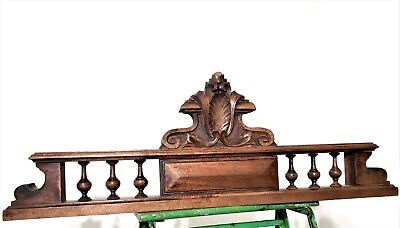 Solid antique french carved wood crown spindle pediment architectural salvage