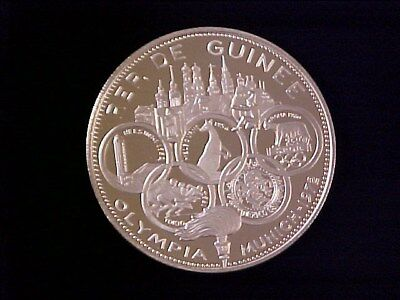 Guinea 500 Francs Pure Silver Proof Crown 1969 Munich Olympics Nice