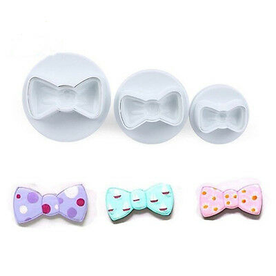 3 Pcs Bowknot Bow Cookie Biscuit Cake Cutter Fondant Mold Sugarcraft Plunger Hot