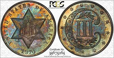C10759- 1870 Proof Three Cent Silver Pcgs Pr64 - 1000 Minted - Nice Color