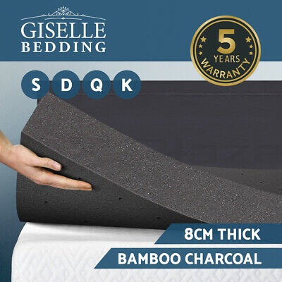 Giselle Bedding Bamboo Charcoal Non Spring Memory Foam Mattress Topper 8CM Pad