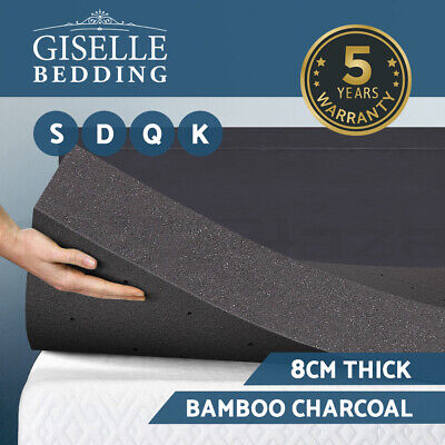 Giselle Bedding Memory Foam Mattress Topper Bamboo Charcoal 8CM Underlay Toppers