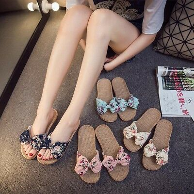 Bohemia Beach Fashion Girl Ladies Sandals Slippers Bowknot Floral Flat Shoes AU
