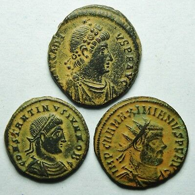 Interesting Selection Of Three Roman Bronze Coins (200H)