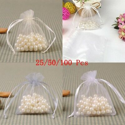 25/50/100 Large Organza Favour Pouches Bag Voile Net Bags For Drawstring Wedding