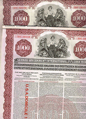 Set 2 Young Loan Germany, 1930 Gold Bonds $1000, 2 different, cancelled, VF+