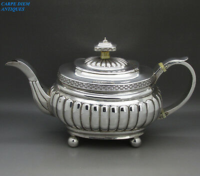 ANTIQUE STUNNING HEAVY GEORGIAN SOLID STERLING SILVER TEAPOT 575g, LONDON 1809