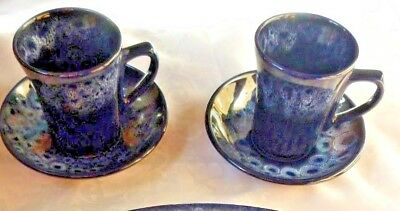 Vintage 1970's Retro Fosters pottery Cornwall Dark blue honeycomb 2 mugs/saucers