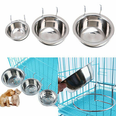 S-L Stainless Steel Hanging Food Water Bowl For Crate Cages Pet Dog Parrot Bird