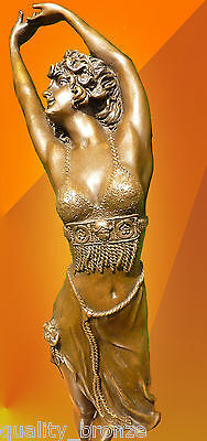 Art Deco Crimean Dancer Signed Bronze Statue Figurine Hot Cast Girl Figure