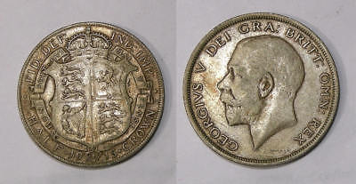 1915 Gb Half Crown Sterling Silver Xf Tough This Nice Inv#347-40