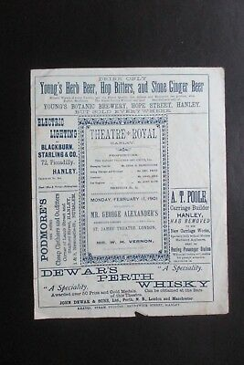 1901 Theatre Royal Hanley George Alexander Programme Stoke On Trent