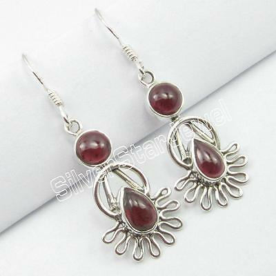 "925 Pure Sterling Silver Genuine GARNET Earrings 1.6"" ! Gemstone Jewelry"