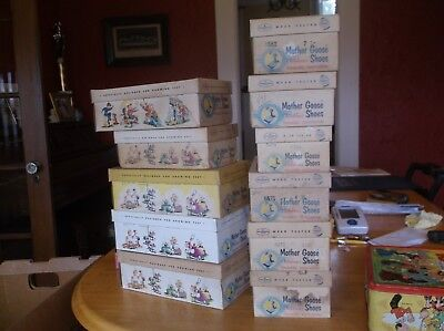 Lot Of Eleven(11) Mother Goose Shoe Boxes With Shoes  1954  Not Worn