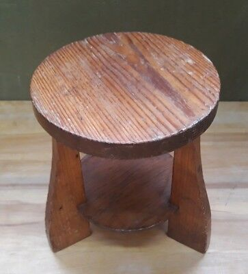 Small vintage wooden stool 26 cm tall