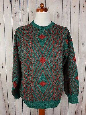 Vtg 1980s Green/Red Crew Neck Crazy Pattern Acrylic Loose Fit Jumper *L* HG41