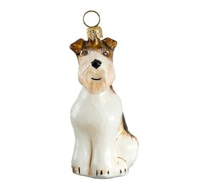 Wire Coat Fox Terrier Sitting Dog Polish Blown Glass Christmas Ornament