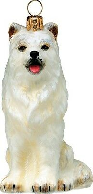 Samoyed Dog Polish Blown Glass Christmas Ornament Decoration Made in Poland
