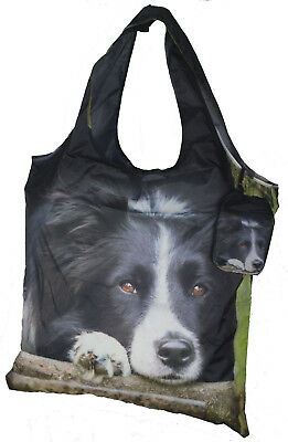 Border Collie Double Sided Photographic Image Fold Away Shopping Tote Bag Gift
