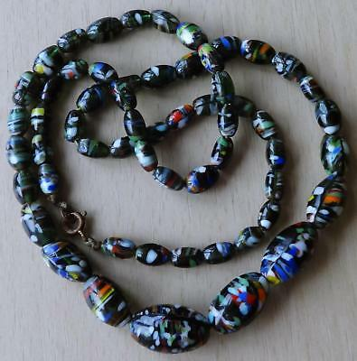 Vintage Multi-Coloured Murano Style Black Glass Bead Necklace