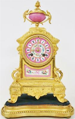 Antique French 8 Day Gilt Metal & Pink Sevres Porcelain Bell Strike Mantle Clock