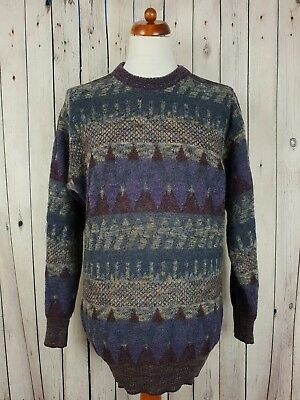 Vtg 1990s Purple Crew Neck Cosby Pattern Loose Fit  Acrylic/Wool Jumper *L* HG56