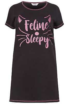 Yours Clothing Women's Plus Size 'feline Sleepy' Nightdress