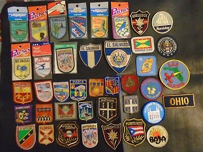 Vintage Lot Of 40 Embroidered Patches Travel U.S. & Foreign. Used & New