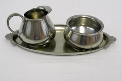 Vintage Royal Holland Daalderop KMD Tiel Pewter Cream and Sugar Set With Tray