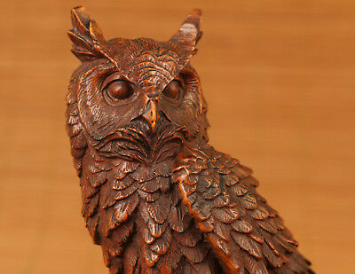 antique Chinese Old Boxwood Japanese Netsuke Owl Statue Netsuke home decoration