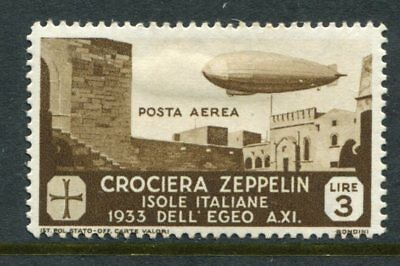AEGEAN ISLANDS (ITALY) 1933 AIRMAIL ZEPPELIN 3L MH Stamp EURO 120